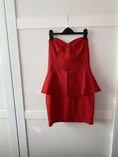 Asos 12 Red Bandeau Sweetheart Peplum Bodycon Mini Dress. Party.Summer.Strapless