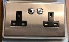 Home Easy Byron Smart Control Double Smart Socket , 2 Gang, Silver & Black