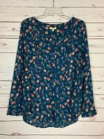 Kori America Boutique Women's S Small Blue Floral Long Sleeve Cute Tunic Top