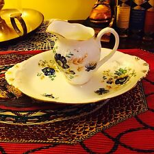 RARE SET of ROYAL ALBERT INSPIRATION PATTERN? BONE CHINA CREAMER & OVAL TRAY
