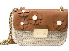 Michael Kors Bag Floral Applique Sloan Chain Crochet Shoulder Xbody Brown B2r