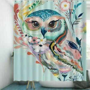 Owl Bathroom Shower Curtain Waterproof Bathtub Fabric Hook Mould Proof Decor