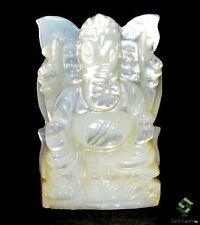 34.30 Cts Natural Mother Of Pearl Hand Made Carving Hindu Lord Ganesha 30x20 mm
