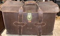 Vintage WWII Top grain Cow Hide Leather Military Navigation Type I Lock Bag