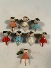 """Lot of 8 Vintage Miniature Wooden Birthday Cake Candle Holder Angels 1-1/2"""""""