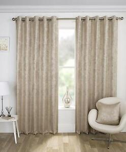 SHIMMERY GLITTER GOLD SPARKLES GOLD NATURAL EYELET BLOCK OUT THERMAL CURTAINS