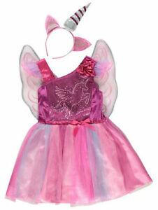 Girls Purple Unicorn Fancy Dress Costume Headband Detachable wings 2-6 Years
