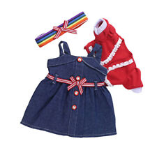 3pcs Denim Skirt Suit for AG American Doll 18 Inch Dolls Dress up Accessories