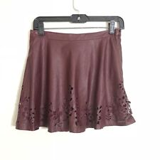 Womens Abercrombie & Fitch Burgundy Faux Leather Laser Cut Mini Skirt Size S NWT
