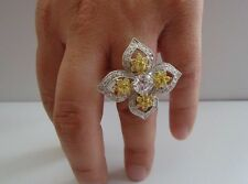 LARGE FLOWER DESIGN RING W/ 4.50 CT YEL/WHT DIAMONDS/SZ 5-9 /925 STERLING SILVER