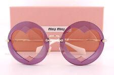 Brand New Miu Miu Sunglasses MU 01SS VA1 4M2 Purple Round Gold Hearts For Women