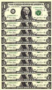 10 Consecutive 2003 $1 L *Star* Federal Reserve Notes - Gem Crisp Uncirculated