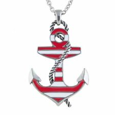 Red Color Striped Anchor Pendant Necklace Stainless Steel Jewelry By Controse
