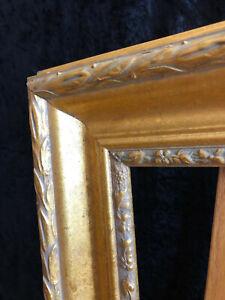 12 x 16  Wooden Frame, Muted Gold with Wide Moulding and Laurel Leaf Margins