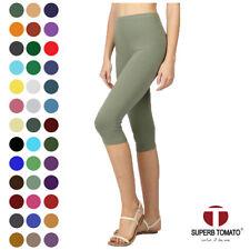 c15f105f03d0ea Womens Capri Leggings Knee Basic Cotton Spandex Stretch Pants Elastic High  Waist