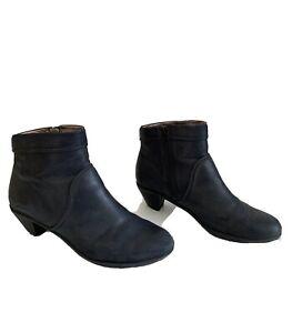 Camper Black Leather Heel Ankle Boots Size Eur 41 US 11 UK 8