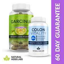 HERBAL GARCINIA CAMBOGIA + COLON CLEANSE - #1 Weight Loss & Detox Package
