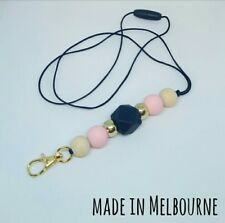 Silicone Beads Lanyard Keyring Chain Safety Clasp Holder ID Pink Black Teacher