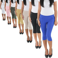 Damen Jeggings Leggings Treggings Stretch Hüft 3/4 Capri Shorts Sommer Hose
