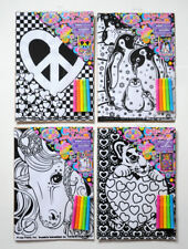 4 Pc. LISA FRANK Velvet art posters + markers! Heart peace sign, unicorn, tiger