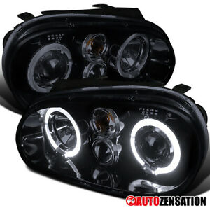 For 1999-2006 Volkswagen Golf GTI MK4 Glossy Black Halo Projector Headlights