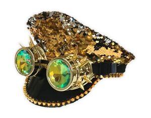 Gold Silver Reversible Sequin Captain Hat Kaleidoscope Goggles Rave Burning Man