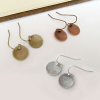 Antiqued Hammered Disc Earrings Silver Brass Copper Dangle Lightweight GIFT US