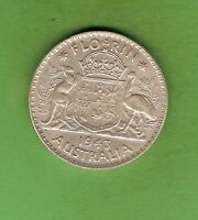 1943  AUSTRALIAN STERLING SILVER FLORIN TWO SHILLING, MELBOURNE MINT