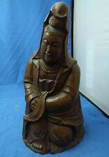 """10"""" Old Antique Chinese Carved Bamboo Queen Mother Lady Statue"""