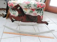 "1930s Vintage Rare MENGEL PLAYTHINGS Wood Rocking Horse 36"" Elephant Logo Childs"