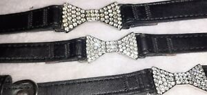 Pets at home DIAMANTE BOW Dog Collar xxs  xs SMALL Sizes faux leather black