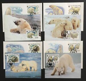 WWF.  Russia.  Polar Bears.  FDC & Maxi Card Set. 1987.  Mint. (WWF72)