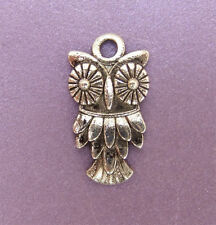 20 x Tibetan Style Antique Silver Coloured Owl Charm Beads - 20mm