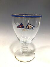 Vintage Crystal Clear Stemware Goblet W/Painted Banners