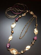 Purple and Gold tone Beaded Necklace and Bangle Bracelets. 7 Piece Lot