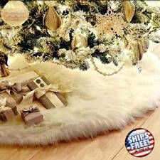 USA Long Plush Snow Flake Christmas Tree Skirt Base Floor Mat Cover Party Decors