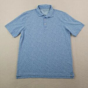 Peter Millar Polo Shirt Mens Large L Blue White Floral Pima Cotton Golf All Over