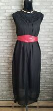 Gamiss Ladies Cage Neck Sheer Black Long Maxi Dress Petite Size Small