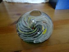 Vintage paperweight white green yellow red swirls