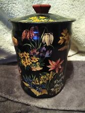 New listing Vintage English Tin Black Flowers George W Horner & Co. Chester-Le Street