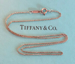 """TIFFANY & CO Sterling Silver Necklace Chain Rolo Link 16"""" 1g 925 #1357"""