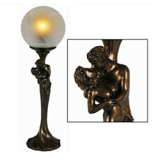 "ART DECO/NOUVEAU TABLE LAMP 17.5"" LOVERS BRONZE RESIN FIGURINE GLASS SHADE +BULB"