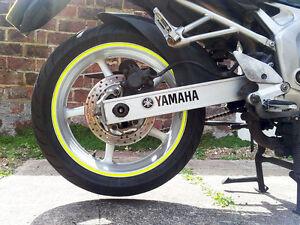 8mm Yellow Fluorescent Dayglow Tape Motorbike Car Wheel Rim Vinyl Sticker Strips
