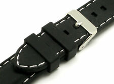 24mm Silicon Rubber diving Watch Band Black/White Fits all Watches