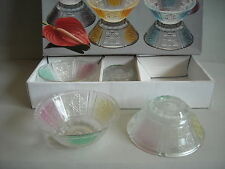 6 Eisschalen Puddingschüsseln Glas 50er - Design Farbig