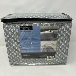 Cuddl Duds Flannel Queen Sheet Set Gray Arrows Heavyweight Brushed Cotton