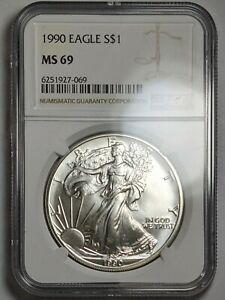 1990 American Silver Eagle NGC MS69 UNC 180206p