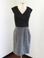Tahari ASL Levine Black White Gray Tweed Sheath Dress Size 4 Portrait Collar