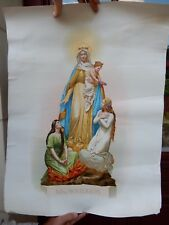 MADONNA AND CHILD 1920S ERA LITHOGRAPH   LARGE POSTER 50 X 66 CM  + FAULTS
