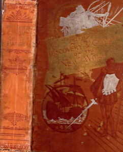 RARE 1899 HISTORY USA COLUMBUS INDIANS WITH VIVID CHROMOLITHOGRAPH COLOR PRINTS